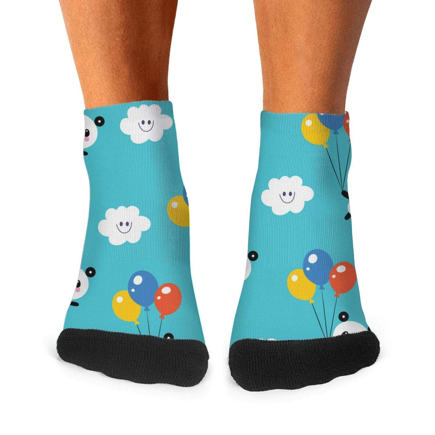 Mens Athletic Low Cut Ankle Sock Smiling Panda And Balloon Short Breathable Sock