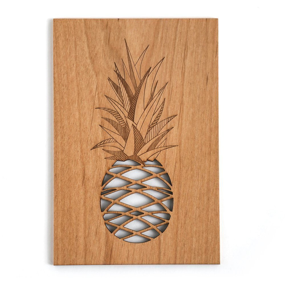 Pineapple Laser Cut Wood Greeting Card (Birthday Card / Everyday / Unique Gift / Personalized Available)