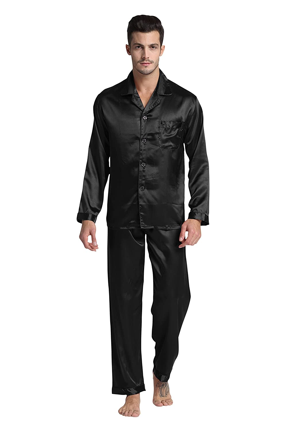 Tony & Candice Men's Classic Satin Pajama Set Sleepwear by Tony And Candice
