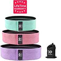 LIFEWAY Resistance Bands for Legs and Butt - Booty Bands Set, Non Slip Fabric Workout Bands Exercise Bands Glute Bands, Wide Stretch Resistance Loops Band - 3 Packs with Carrying Bag