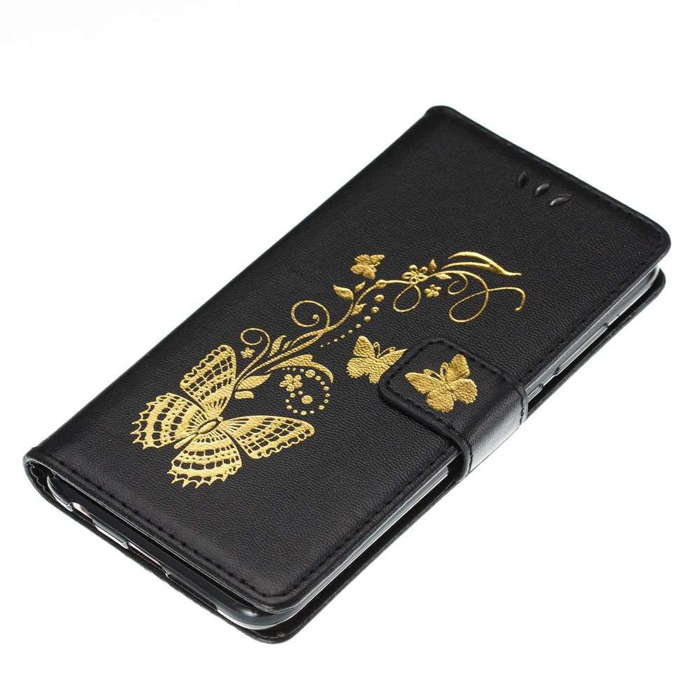 BtDuck Compatible with Huawei Honor 9 Phone Shockproof Phone Protector Magnetic Closure Cover Slim Fit Cover Clear Stand Flip Case Phone Accessories Inner Soft Silicone Butterfly