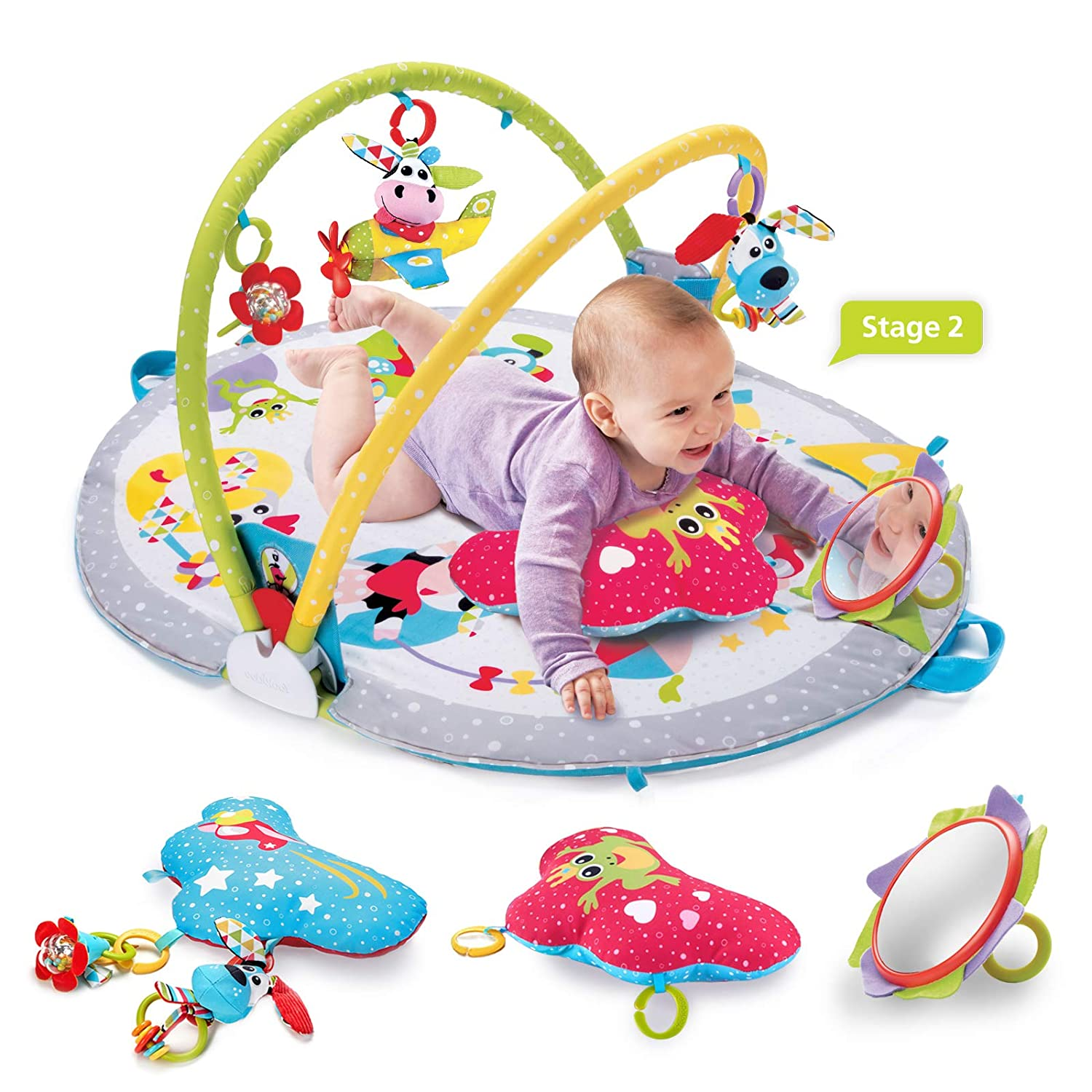 Age 0-12 Months Yookidoo Baby Gym Activity Play Mat 3 Stage Accessory Gym with More Than 20 Development Infant Activities