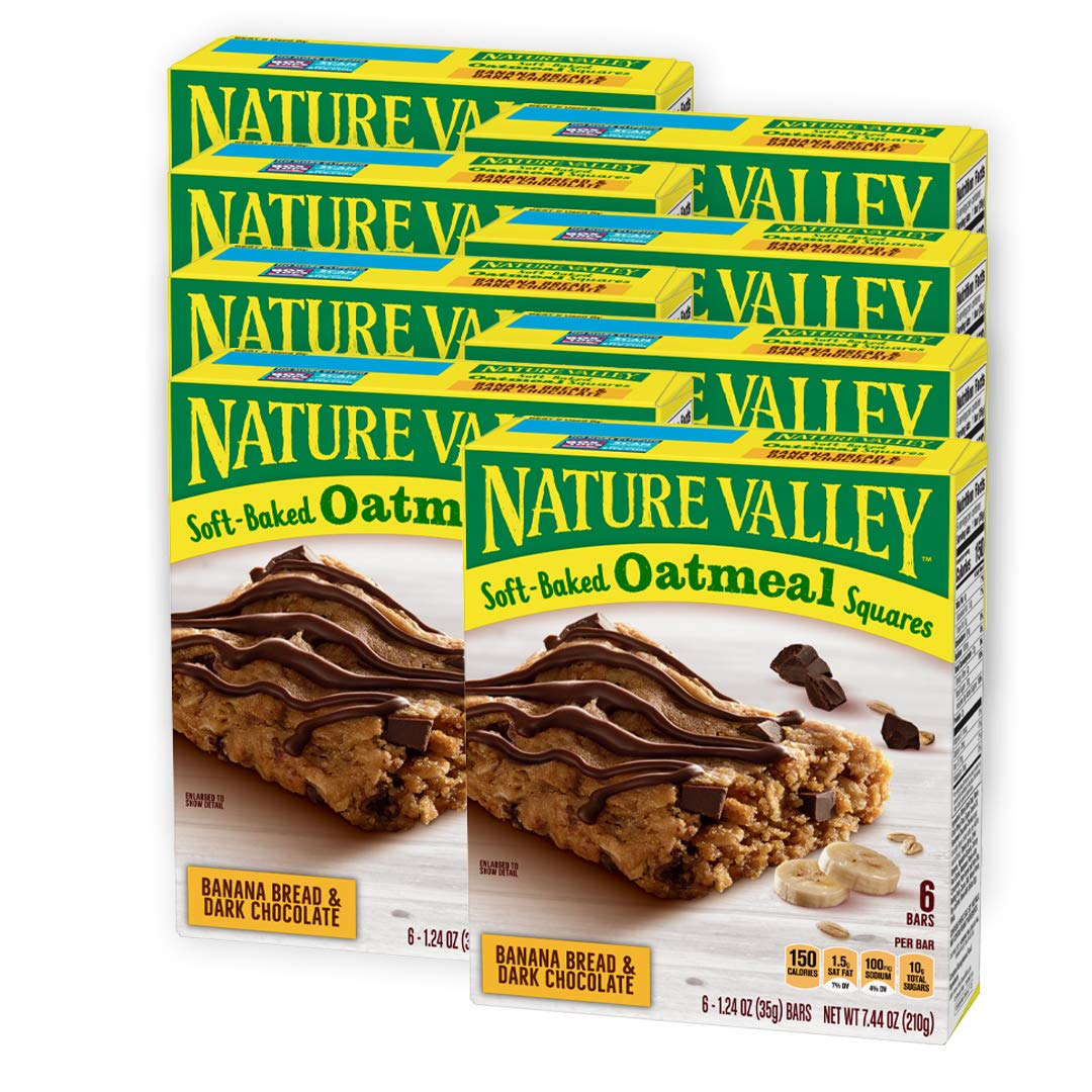 Nature Valley Soft-Baked Oatmeal Squares, Banana Bread and Dark Chocolate, 6 Bars, 1.24 oz (Pack of 8)