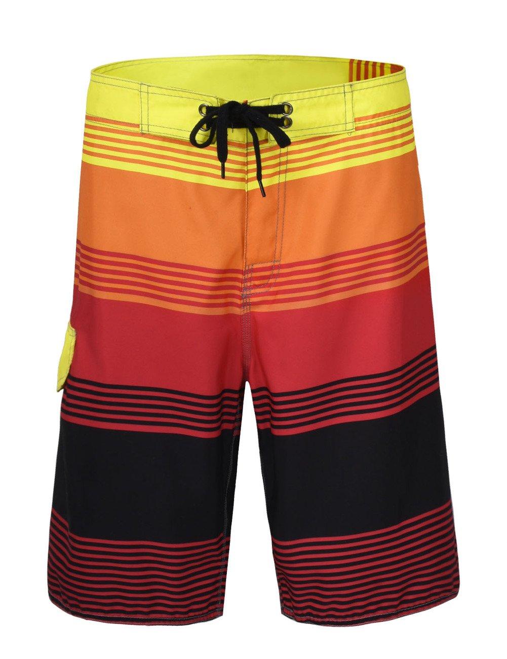 Nonwe Men's Striped Quick Dry Beachwear 16108-P