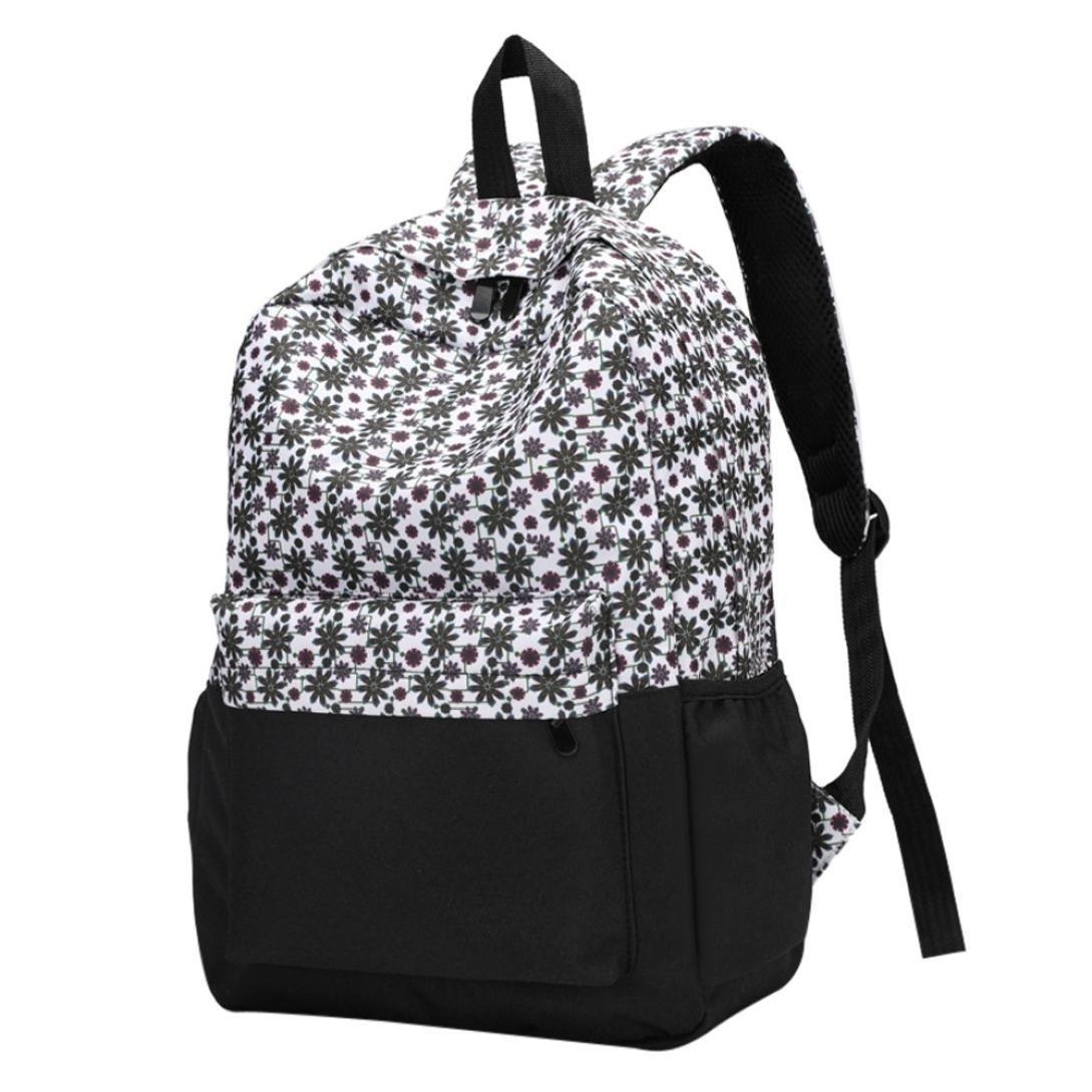 School Bags For Girls, Brezeh Womens Girls Stylish Floral Backpack Daypacks Lightweight Casual School Bookbags Shoulder Bag Nylon Travel Bag Satchel (Multicolor C) Brezeh Bag