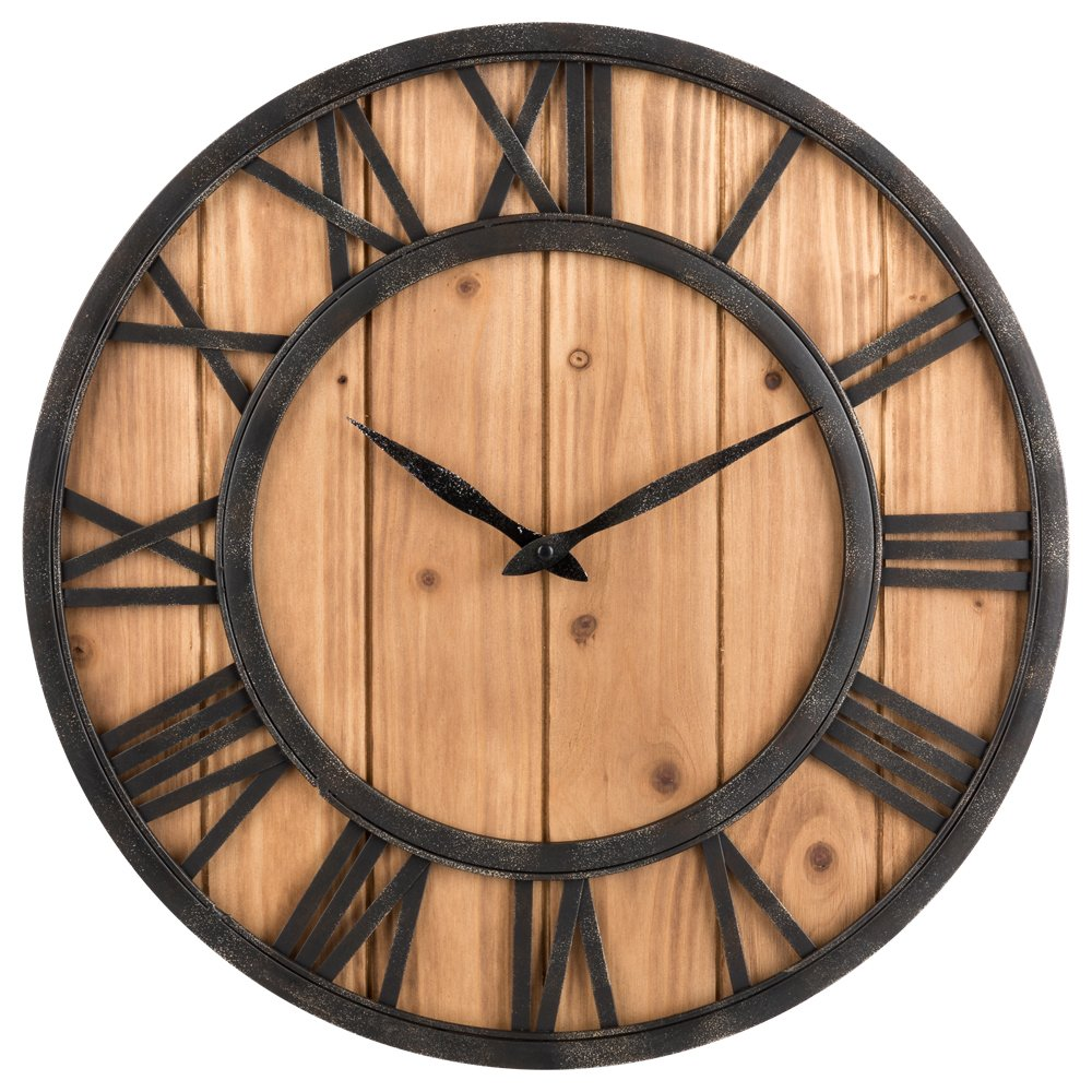 OLDTOWN Farmhouse Rustic Barn Vintage Bronze Metal & Solid Wood Noiseless Big Oversized Wall Clock (Large 18-inch)