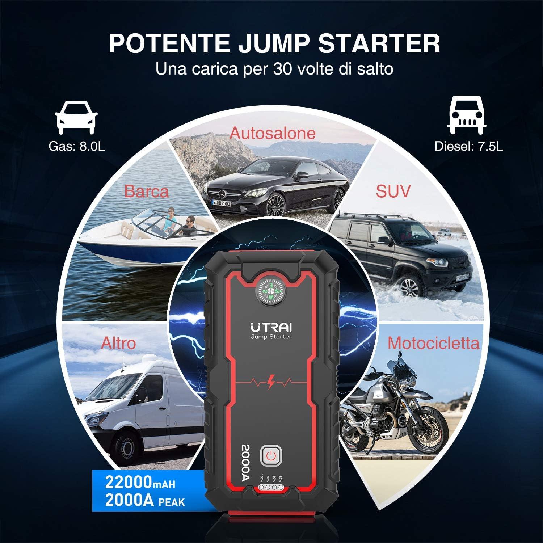 Power Starter Portatile per Auto Moto per Motori 12V Diesel 6.5L e Benzina 8.0L UTRAI Avviatore di Emergenza Jump Starter 2000A e 22000mah Avviatore Batteria