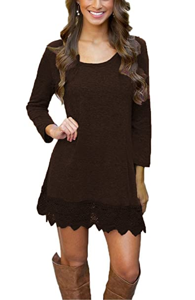 398104415ae2 Our Precious Women s Casual Long Sleeve Lace Hem A-Line Shirt Dress Tunic  Tops Coffee