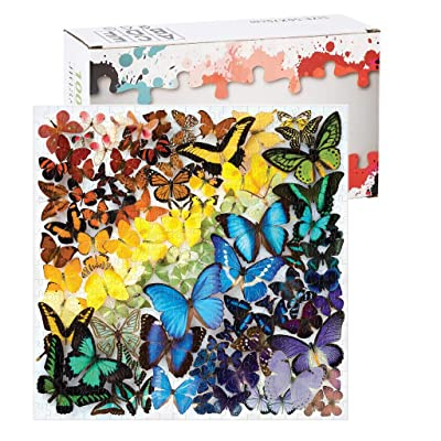 Voberry Puzzles for Adults 1000 Piece, Rainbow Butterflies Jigsaw Puzzle – Features an Array of Butterflies in a Mesmerizing Rainbow of Color – Challenging, Perfect for Family Fun – Fun Indoor Activit: Toys & Games