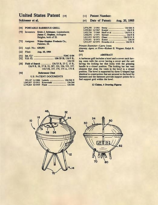 Amazon.com: Impresiones de Patentes – Weber Grill – Barbacoa ...