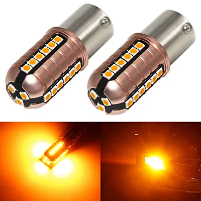 Phinlion 3000 Lumens BA15S 1156 LED Turn Signal Light Bulbs Super Bright 3030 27-SMD P21W 1141 7506 LED Bulb for Turn Signal Blinker Lights, Amber Yellow: Automotive