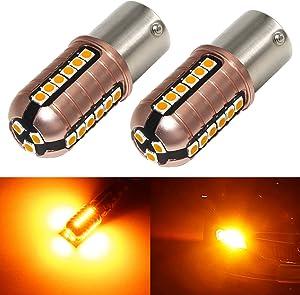 Phinlion 3000 Lumens BA15S 1156 LED Turn Signal Light Bulbs Super Bright 3030 27-SMD P21W 1141 7506 LED Bulb for Turn Signal Blinker Lights, Amber Yellow