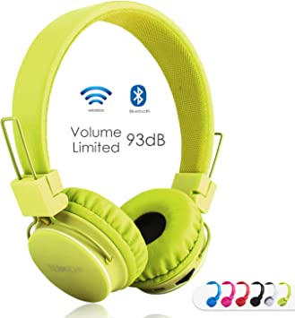Amazon Com Kids Bluetooth Headphones Foldable Volume Limiting Wireless Wired Stereo On Ear Hd Headset With Sd Card Fm Radio In Line Volume Control Microphone For Children Adults Green Electronics