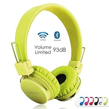 Auriculares Inalámbricos Bluetooth para Niños Adulto, Cascos Recargables y Plegables con Micrófono y Limitador de Volumen para Tableta, PC, ...