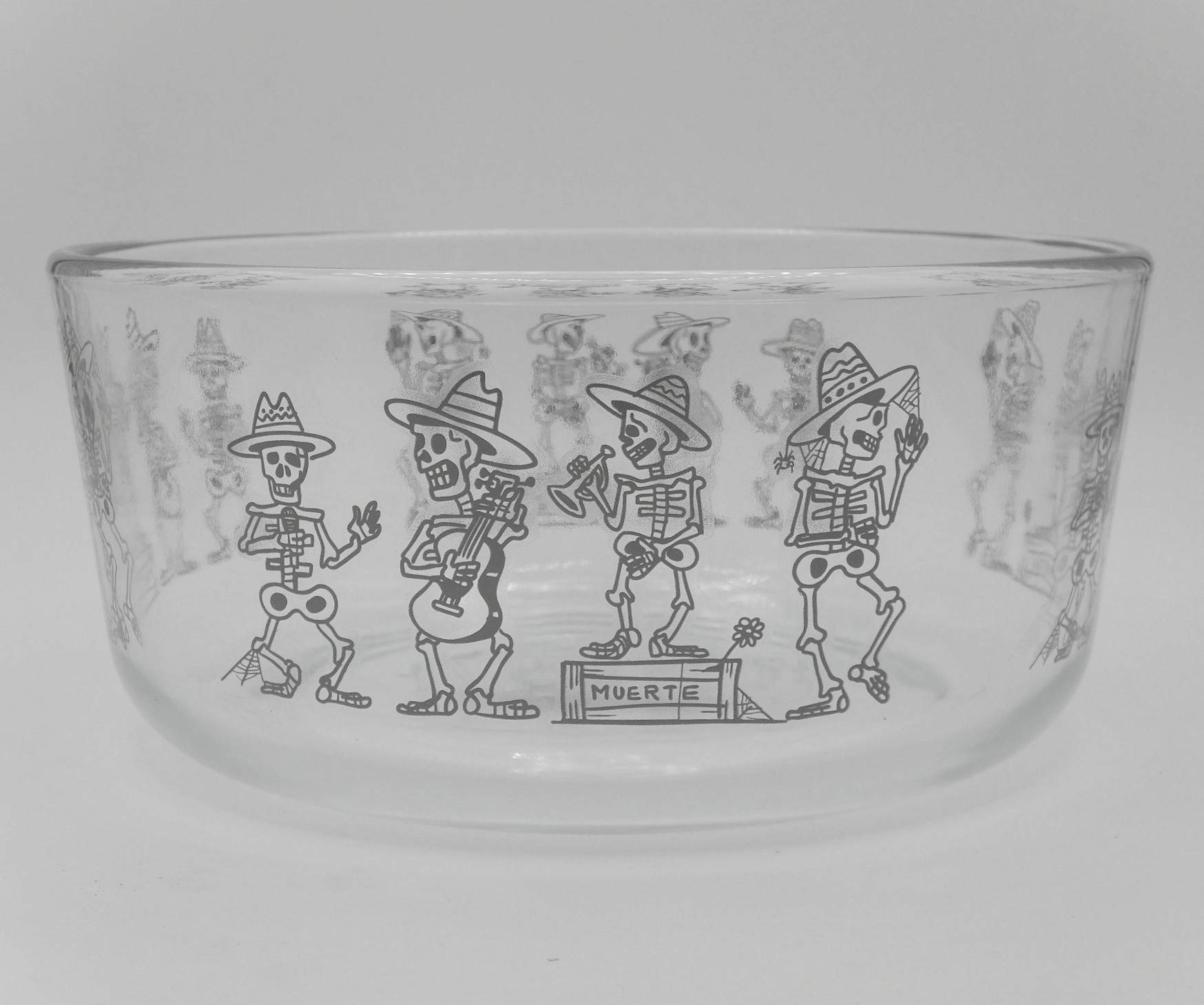 Simply Store Day of the Dead Mariachi Band Glass Bowl with Cover 7 Cup Container