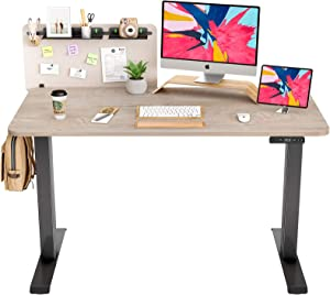 FAMISKY Dual Motor Adjustable Height Electric Standing Desk, Storage Panel with Tray, 55 x 24 Inches Stand Up Table, Sit Stand Home Office Desk with Splice Tabletop, Black Frame/GreigeTop