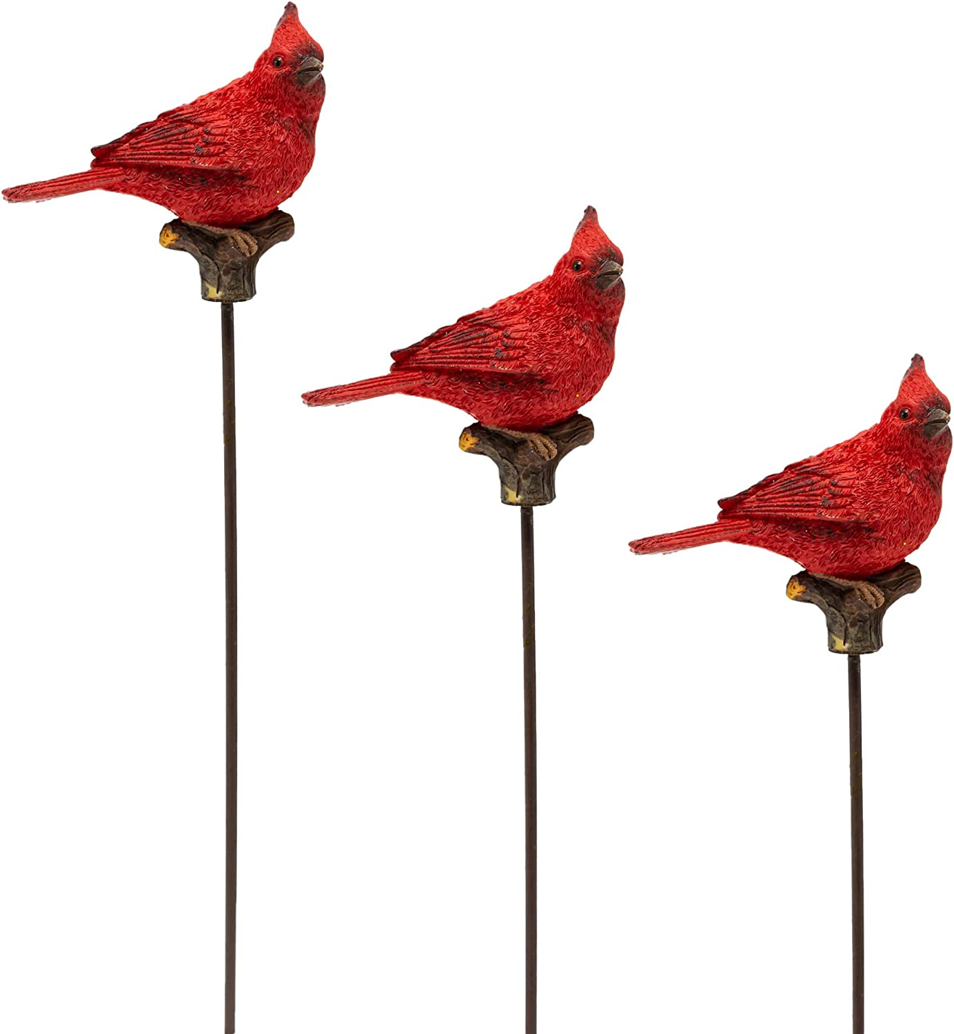 BANBERRY DESIGNS Cardinal Plant Stakes - Set of 3 Decorative Bird Garden Stakes - Red Cardinals on a Branch Garden Décor - Approx. 10 Inches Tall