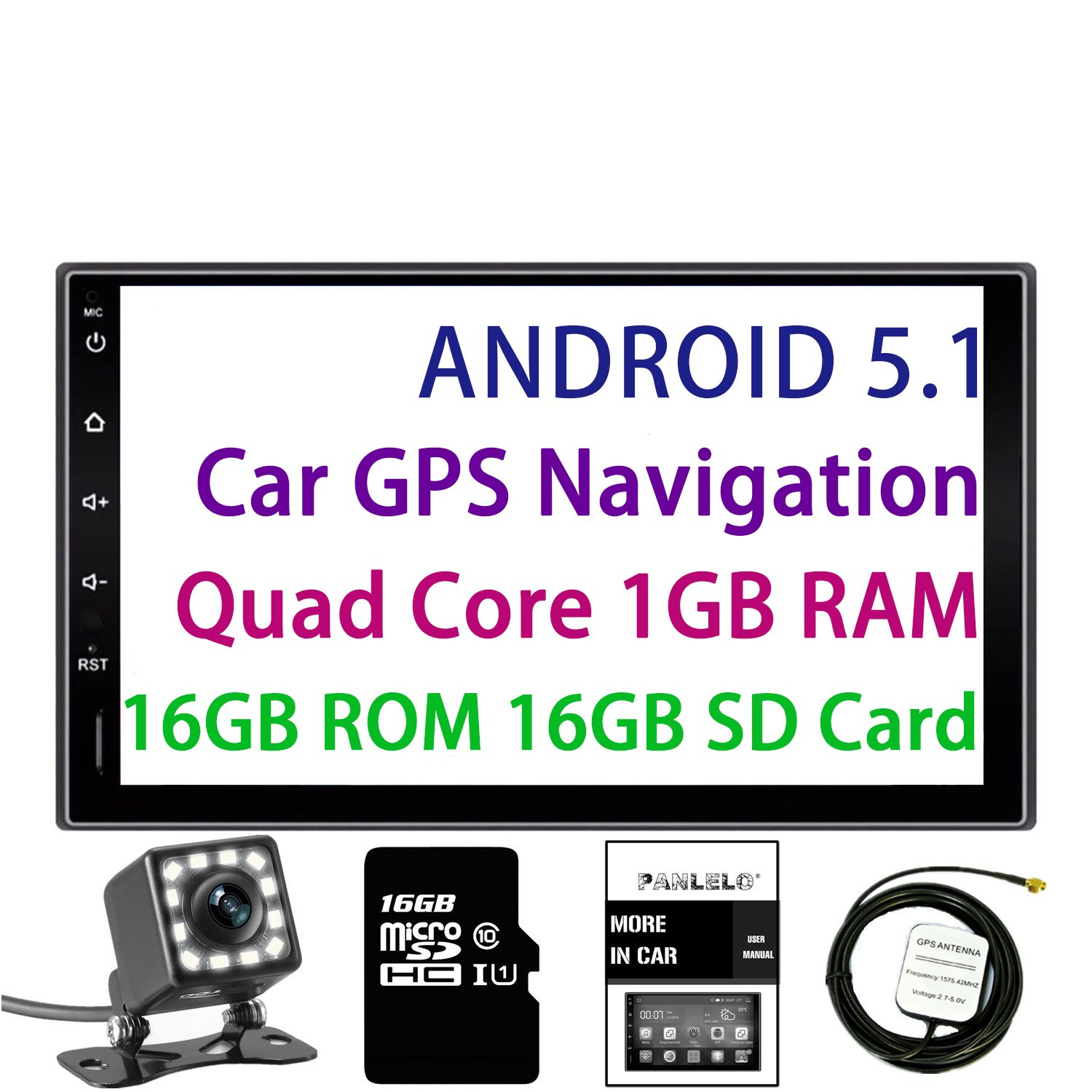 Panlelo Android 5.1 Car Stereo 7 Inch 2 Din Head Unit Quad Core RAM 1G ROM 16G GPS Navigation Auto Audio Radio 1080P Video Player Built in Wi-Fi BT AM/FM/RDS Steering Wheel Control by Panlelo