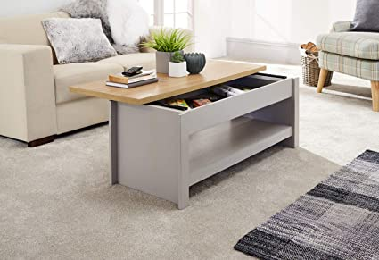 Tremendous Gfw The Furniture Warehouse Lancaster Sliding Top Storage Coffee Table Cream Grey With Oak Top Shelfgrey Squirreltailoven Fun Painted Chair Ideas Images Squirreltailovenorg