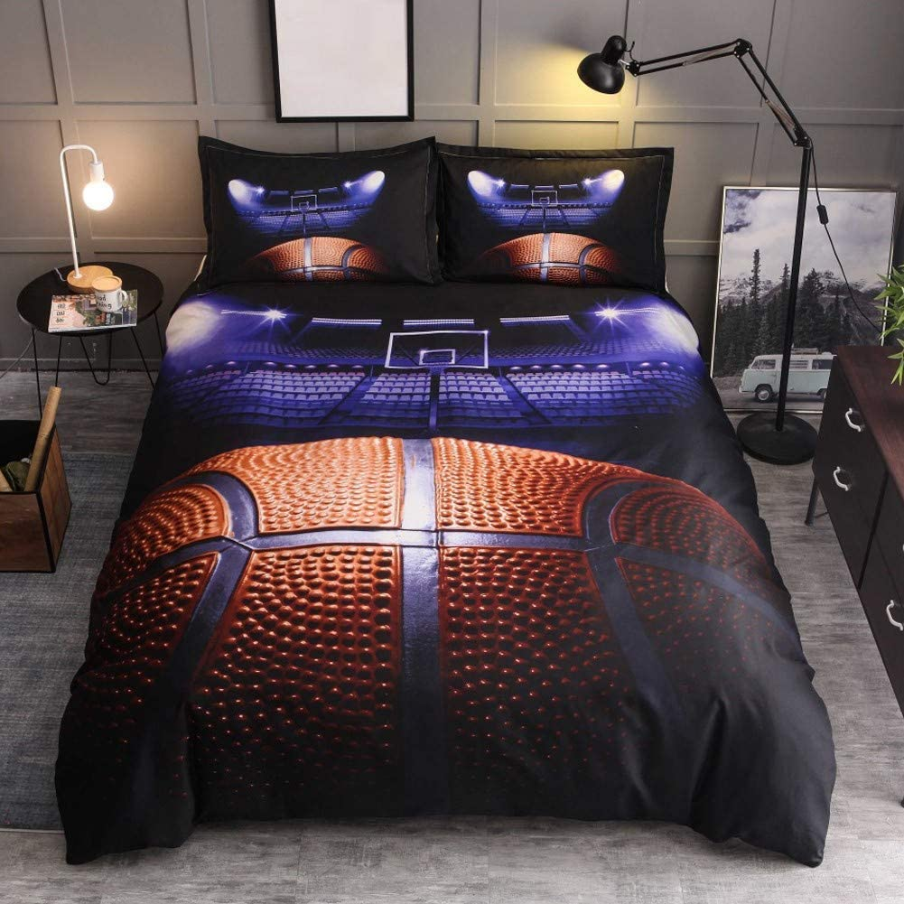 HTgroce 3D Sports Basketball Court Bedding Set for Boys, Ultra Soft and Breathable Microfiber Comforter Cover with Zipper Closure, Queen Size,3PCS,1 Duvet Cover+2 Pillow Shams,(No Comforter)