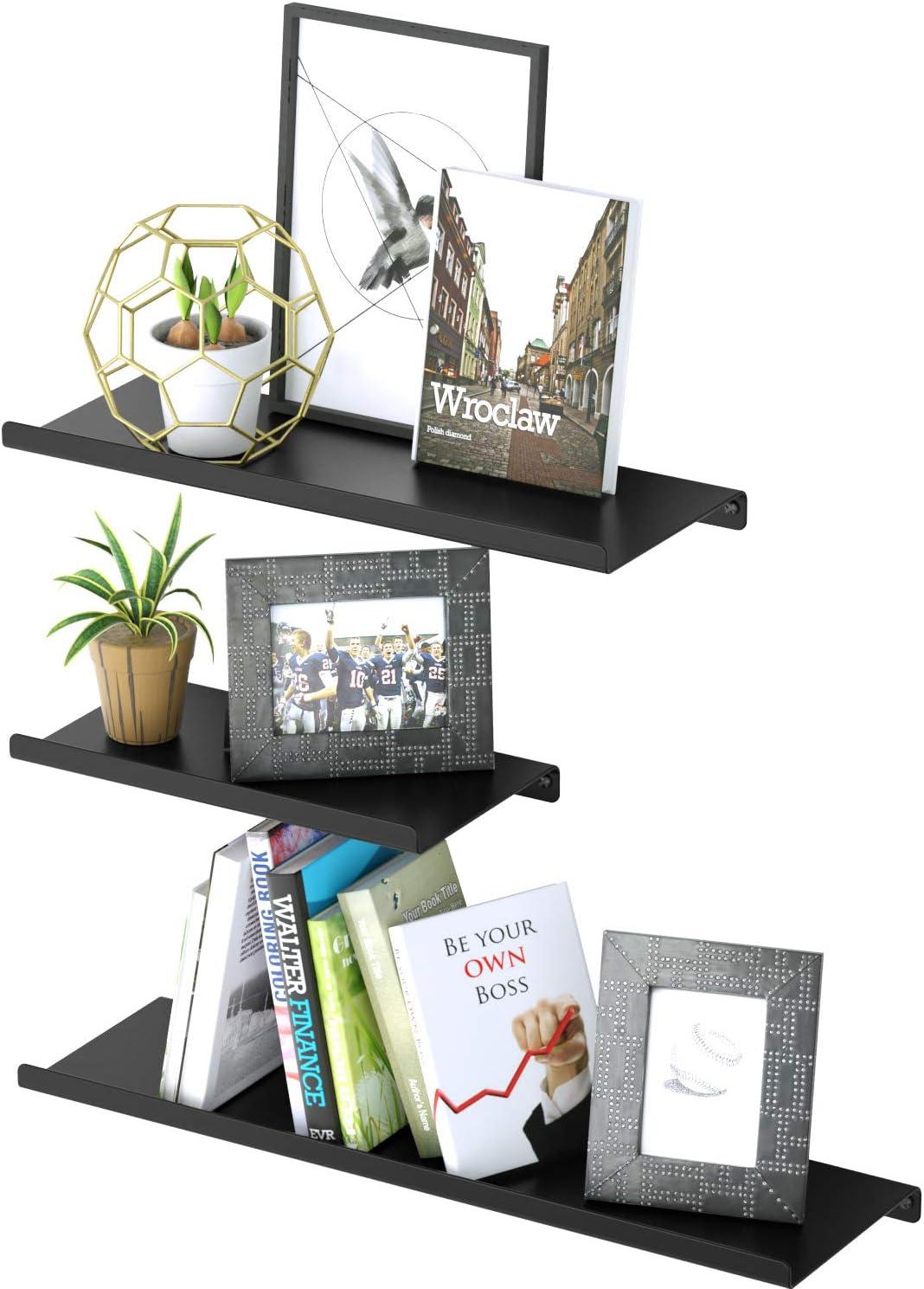 SRIWATANA Floating Shelves Set Wall Mounted Metal Shelves Space Saving Shelf to Hold up 33 lbs Shelves Set of 3 White
