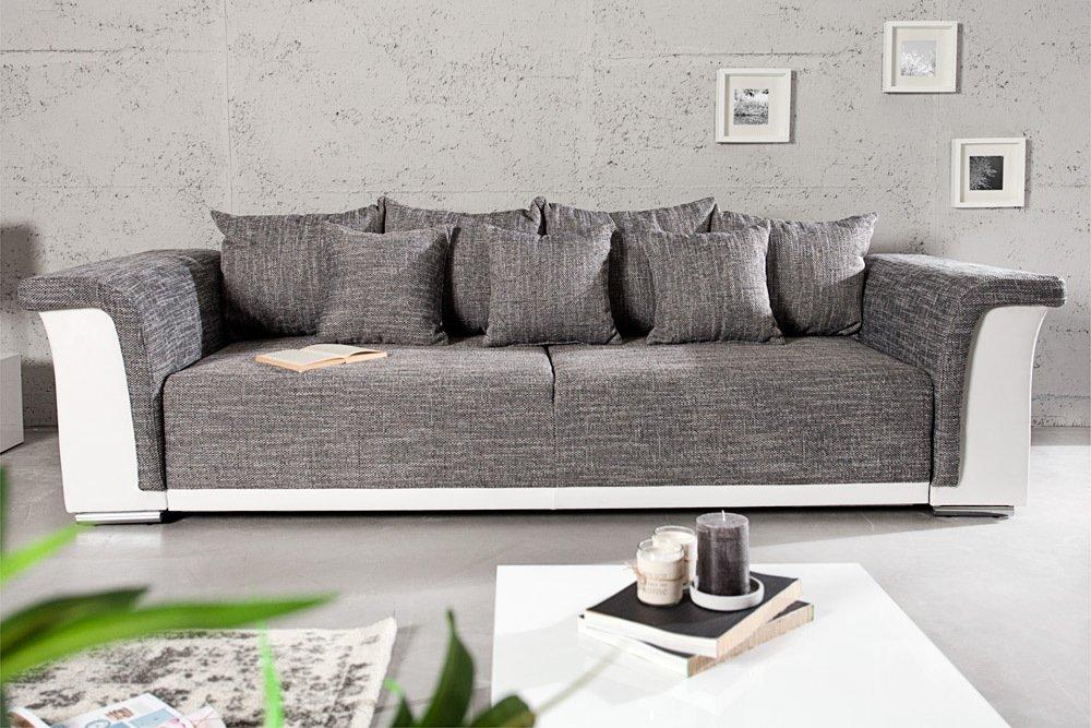 Design Big XL Sofa BELLINA Hellgrau Strukturstoff Weiß Schlaffunktion  Federkern: Amazon.de: Küche U0026 Haushalt