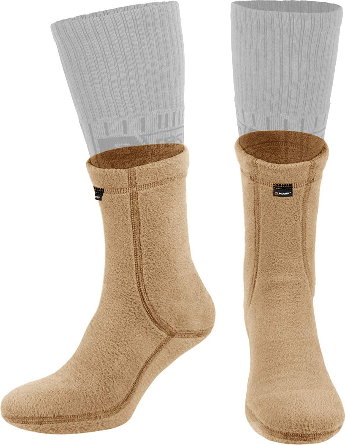 281Z Outdoor Warm Liners Boot Socks - Military Tactical Hiking Sport - Polartec Fleece Winter Socks (X-Large, Coyote Brown)