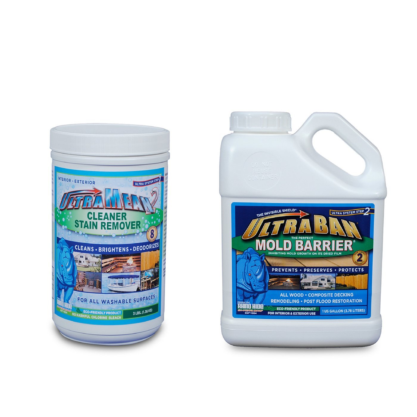 The Ultra System - UltraBan Mold Barrier & UltraMean2 Mold Cleaner and  Stain Remover - Clean and Protect - Rhino Hide