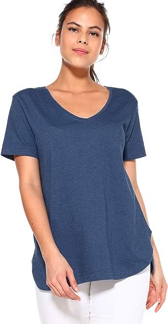 VENCA Camiseta bajo Redondeado Mujer - 015565, Azul Vigor�, S: Amazon.es: Ropa y accesorios