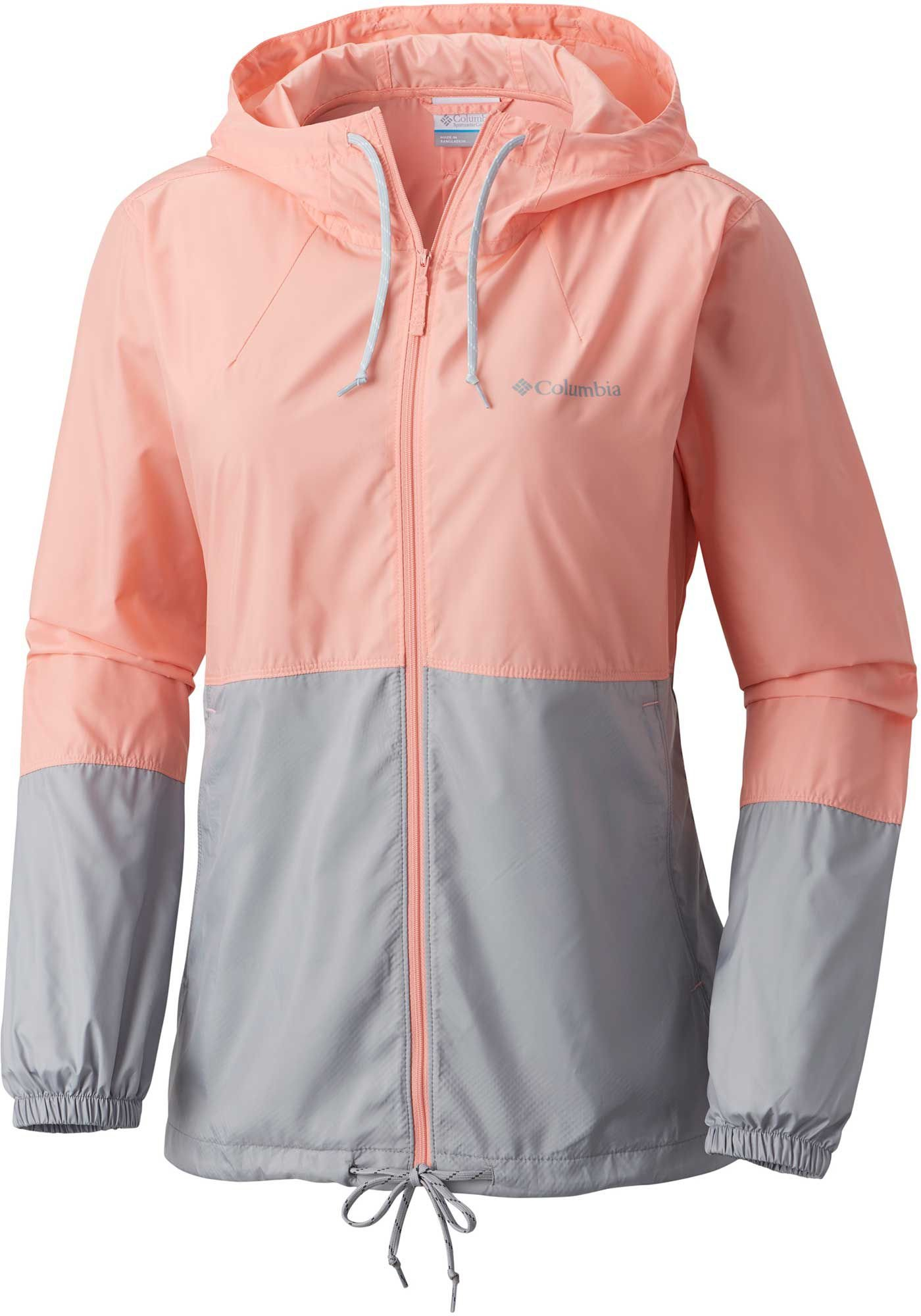 Columbia Women's Plus Size Flash Forward Windbreaker Jacket, Sorbet, Grey, 2X