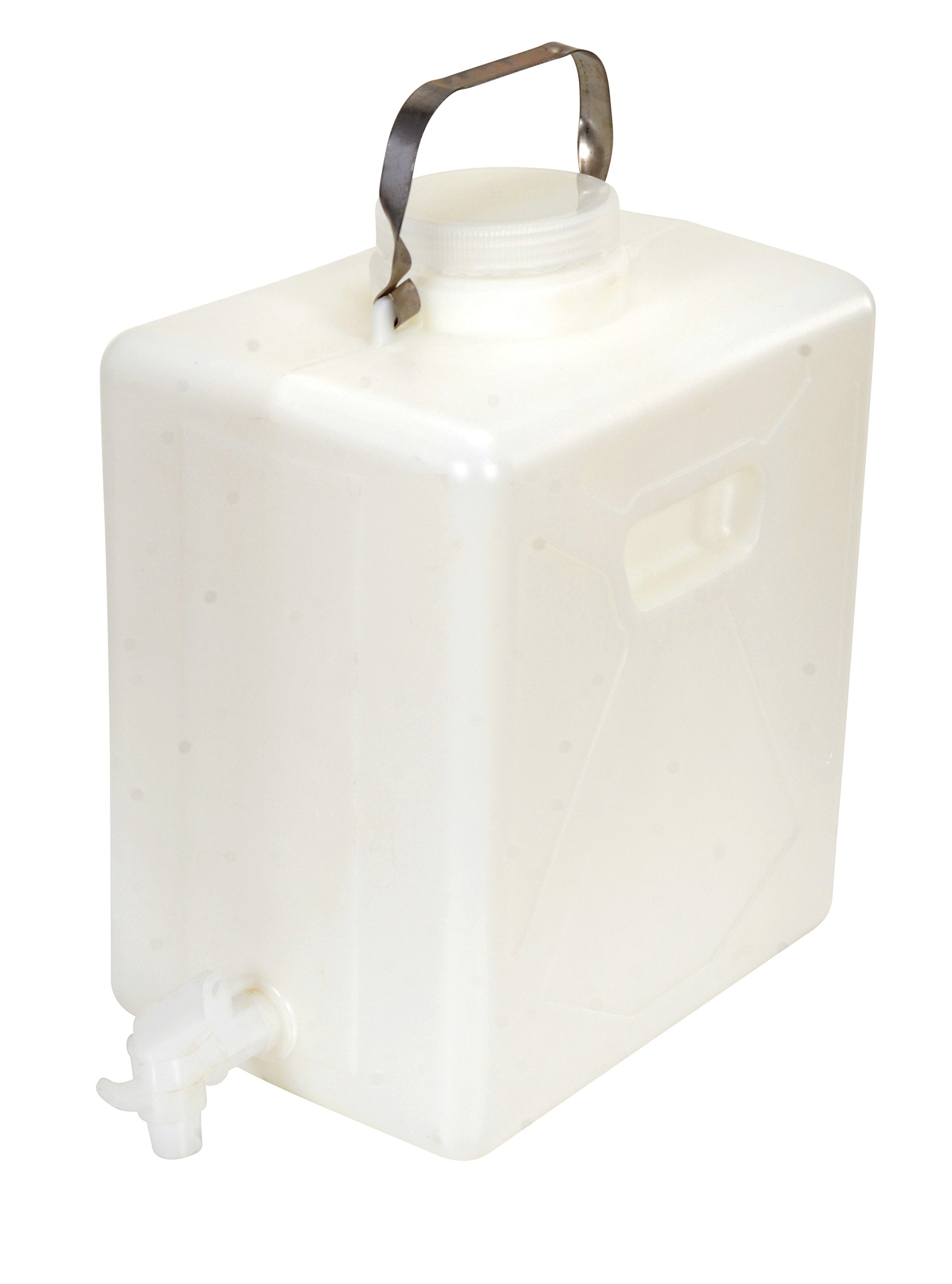 Vestil CARB-5-SSH-S Wide Mouth High Density Polyethylene (HDPE) Rectangular Carboy with Stainless Steel Handle and 3/4'' Polyethylene Spigot, 5 Gallon Capacity, Natural by Vestil