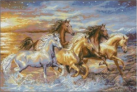 kuwoolf 3d DIY diamante bordado caballo corriendo en la noche ...