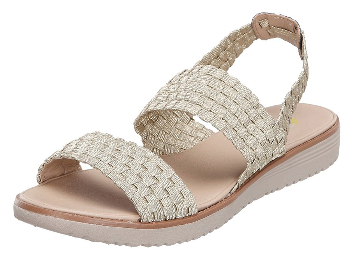 Easy Spirit Womens TALINI Open Toe Casual Slide Sandals, Gold, Size 10.0