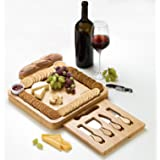 JIYUERLTD Cheese Board with Knives and Opener Chopping Board Bamboo Cutting Board,Cheese Services,Platter for Wine Nuts Meat.