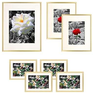 Golden State Art, Set of 7 Frames, Aluminum Metal Photo Frames with Ivory Color Mat & Real Glass, Décor Collage Frame - Color: Gold