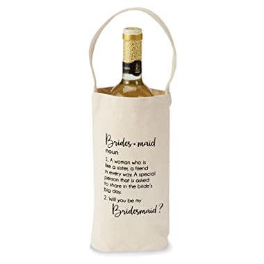 Mud Pie Bridesmaid Ask  Wine Bag, Off-White