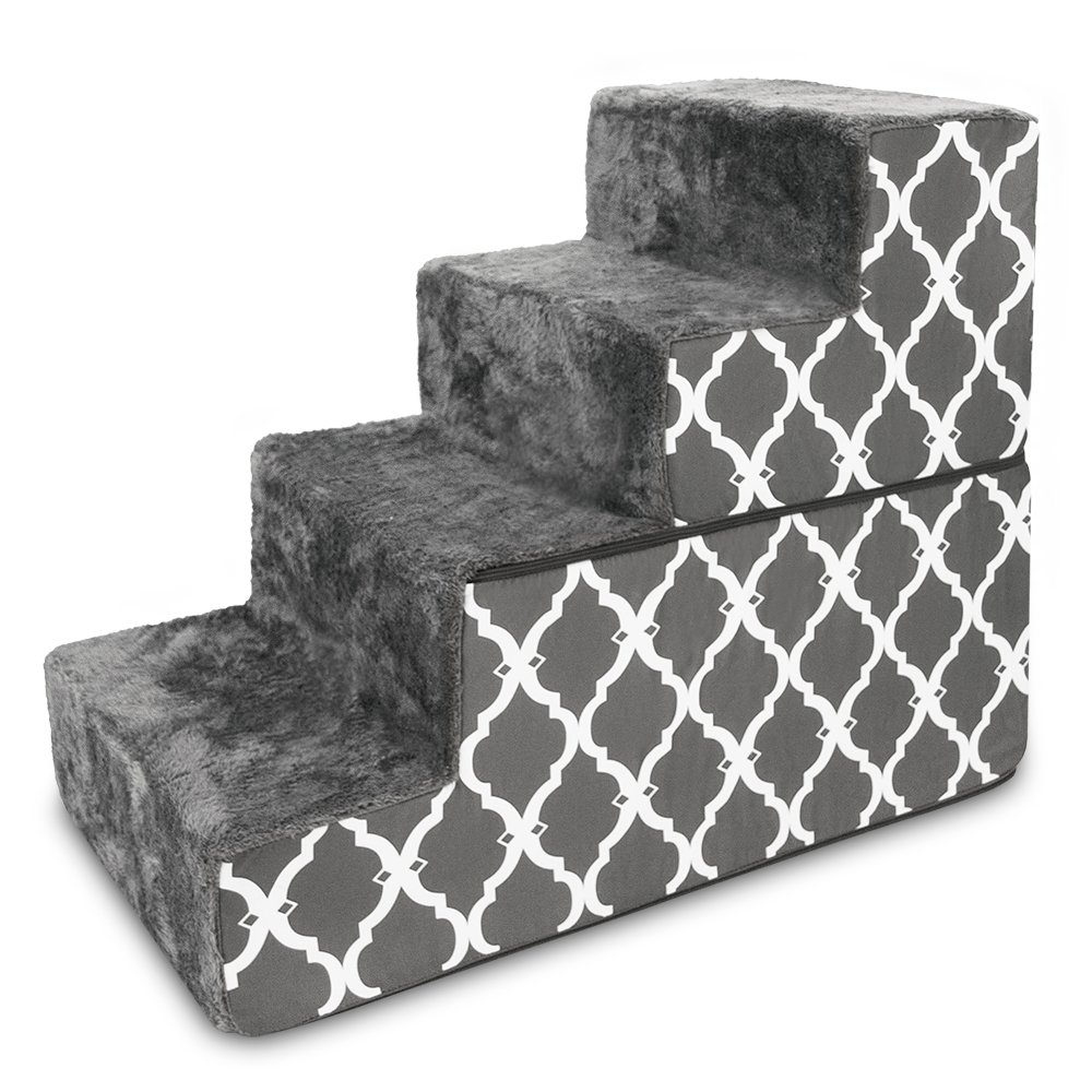 Best Pet Supplies Dark Grey with Lattice Print Foldable Pet Foam Stairs Steps for Dogs and Cats (4-Step)