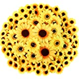 CEWOR 250pcs Artificial Silk Sunflower Heads 1.8'' 3'' 3.9'' Fake Faux Flower Heads Yellow Floral for Wedding Centerpieces De