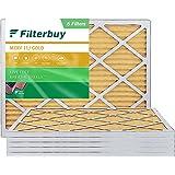 FilterBuy 20x25x1 Air Filter MERV 11, Pleated HVAC AC Furnace Filters (6-Pack, Gold)