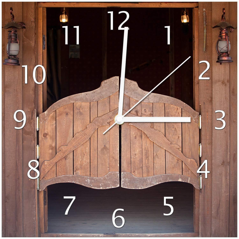 Wallario Glas-Uhr Echtglas Wanduhr Motivuhr • in Premium-Qualität • Größe Größe Größe  30x30cm • Motiv  Saloontür a724db