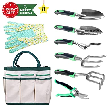 BUTTERFLY LOVE 8 Piece Garden Hand Tools Set with Heavy Duty Cast Aluminum Heads Ergonomic Handles-Gardening Kits with Gloves and Tote Bag for Women