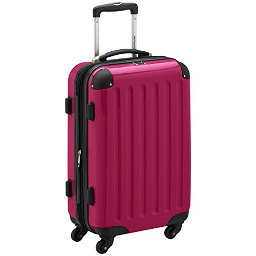 HAUPTSTADTKOFFER - Alex - Carry on luggage On-Board Suitcase Bag Hardside Spinner Trolley 4 Wheel Expandable, 55cm, TSA, pink