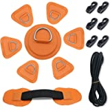 7Pck D-Ring Patch Kayak D Ring Pads & 20ft Strong Elastic Bungee Shock Cord with Hooks Bungee Deck Rigging Kit for Pvc Inflat