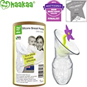 Haakaa Breast Pump with Flower Stopper 100% Food Grade Silicone BPA PVC and Phthalate Free (3.5oz/90ml) (Purple)