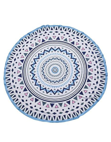 PIECES Toalla Redonda Mandala étnica Playa Azul 1.80 CM (Única - Estampado)