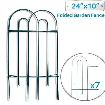 Patio Paradise Garden Border Folding Fence 24 X 10 Inch   7 Panels Garden  Barrier