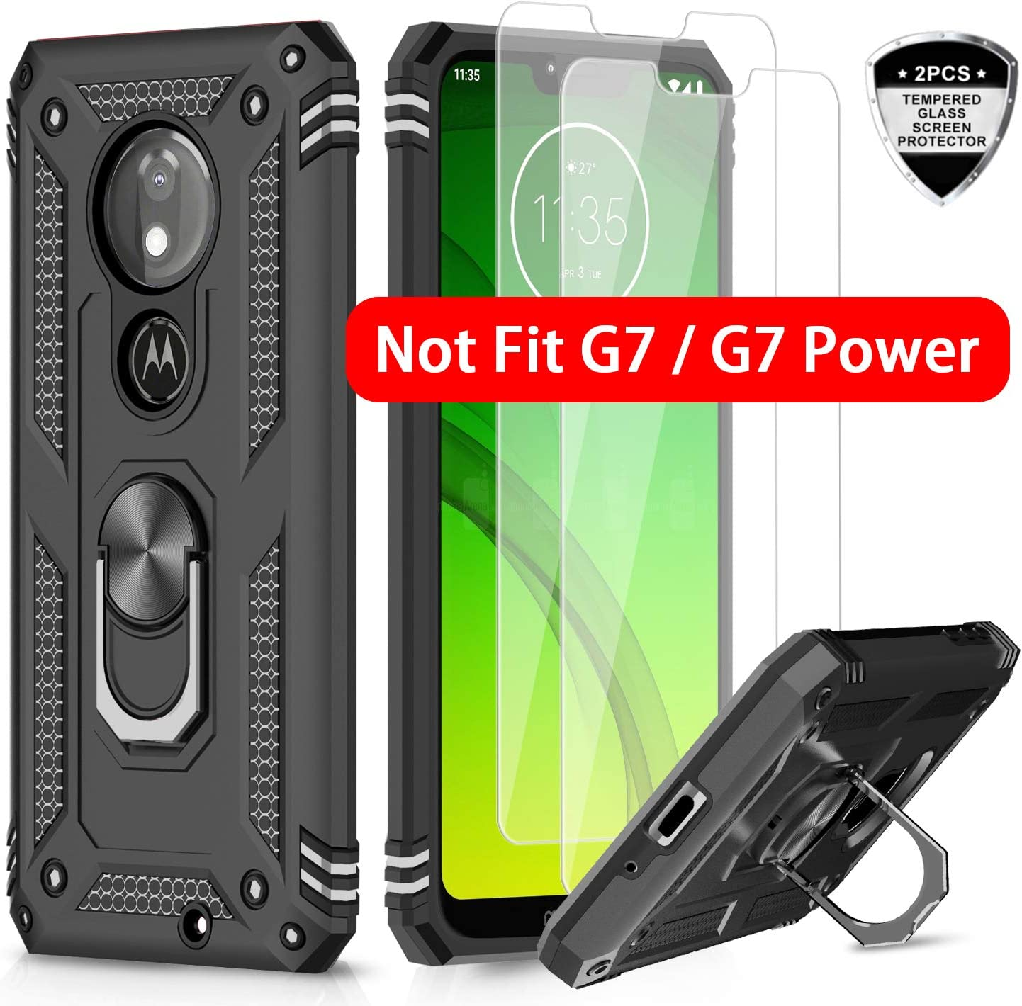 LeYi Moto G7 Play Case (Not Fit Moto G7) with Tempered Glass Screen Protector [2 Pack], Military Grade Defender Phone Case with Magnetic Car Mount Kickstand for Moto G7 Play, Black