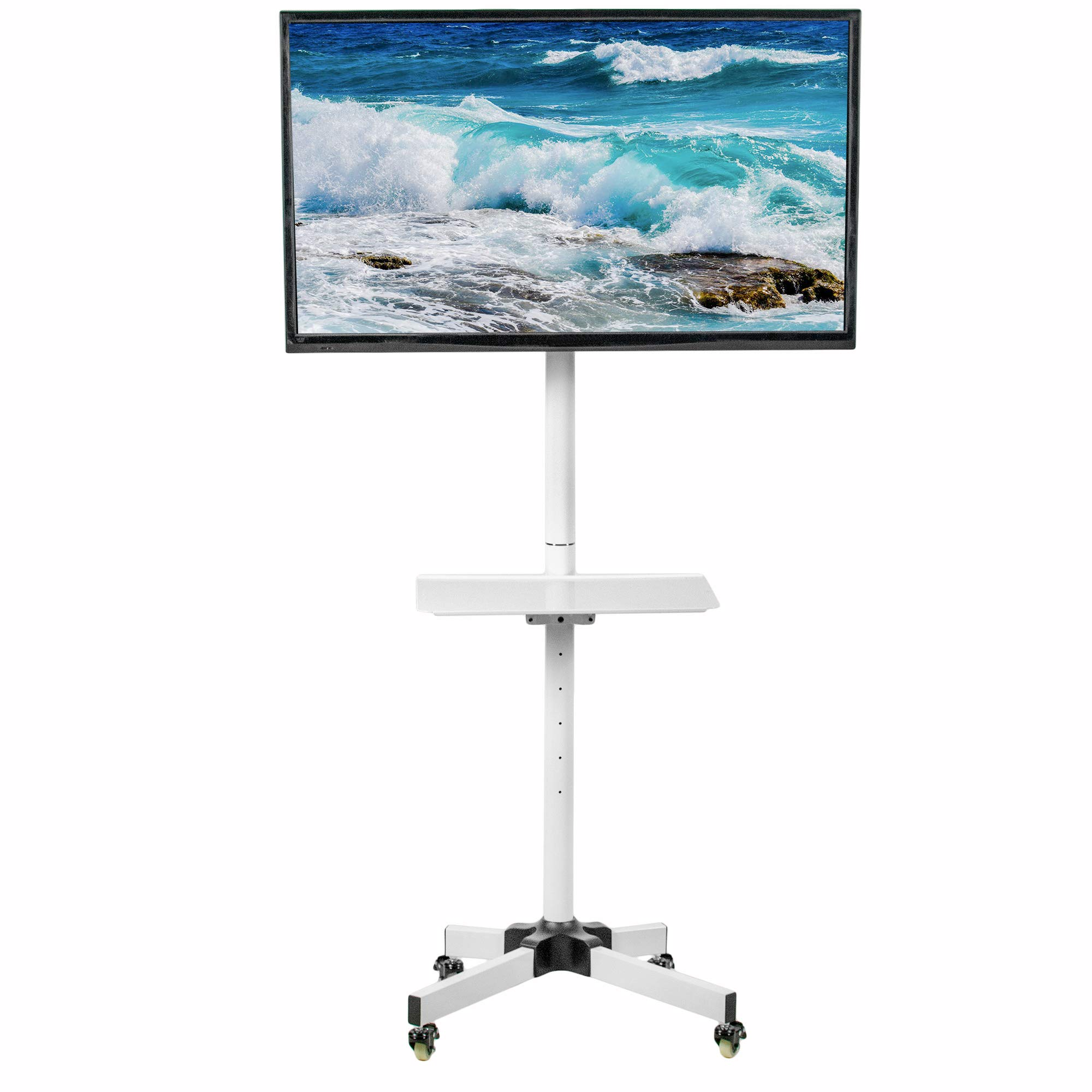 VIVO White Mobile TV Cart for 23 to 55 inch LCD LED Plasma Flat Screen Panel | Trolley Floor Stand with Locking Wheels (STAND-TV04MW) by VIVO