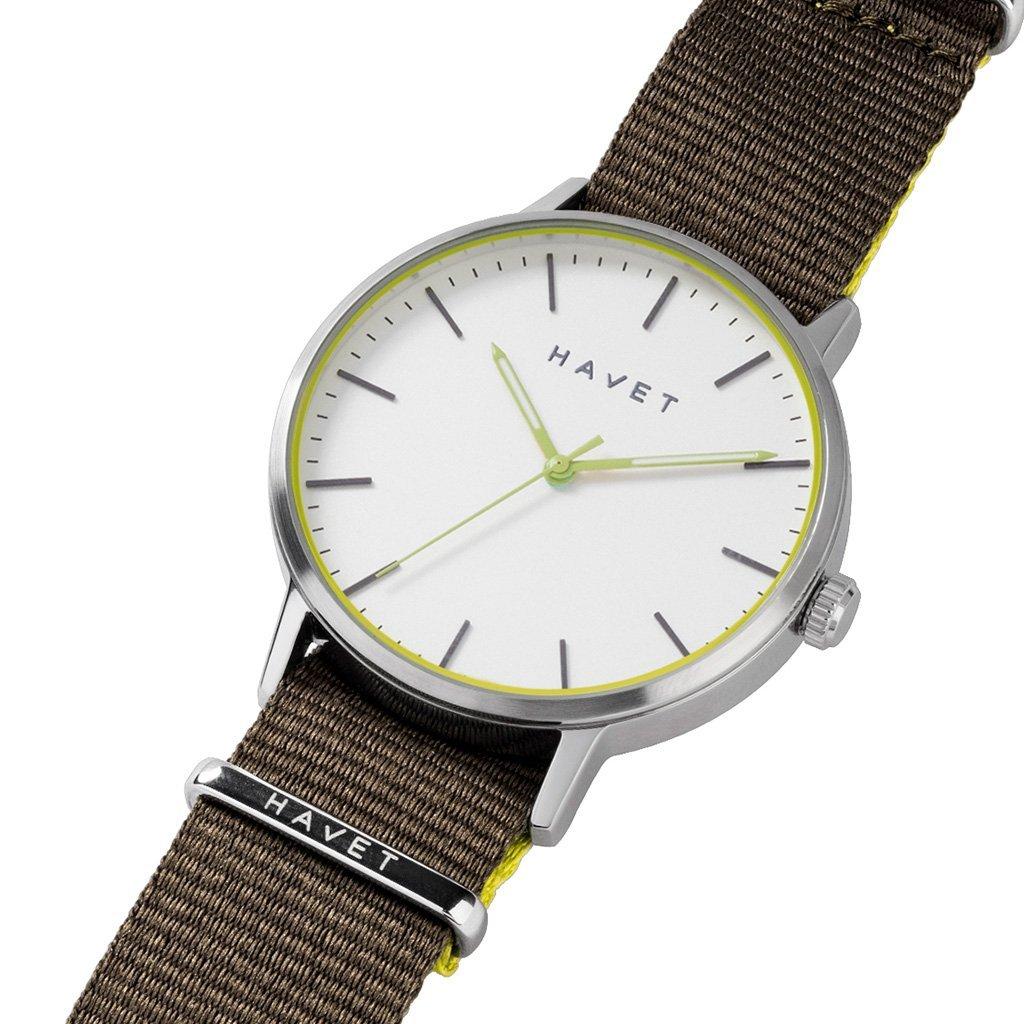 HAVET | Reloj de hombre Halten de acero con esfera blanca y correa nato khaki: Amazon.es: Relojes