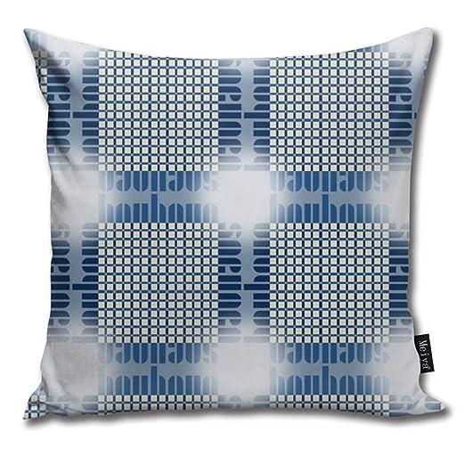 Bauhaus Grid Glow Bluebluewhite Throw Pillow Cushion Cover ...